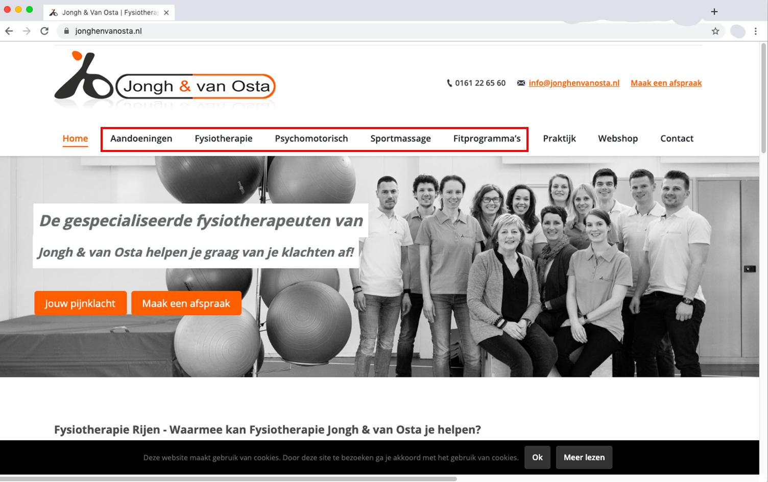 praktijkwebsite, menu, keuzes